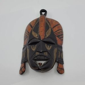 Vintage Hand Carved Wooden Mask From Tanzania. Perfect shape